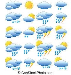Meteorology set - Set of images for meteorology on the white...