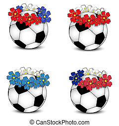 Soccer balls with floral flags