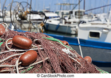 Fischernetz in der Sonne - Netz,Fischer,Boot