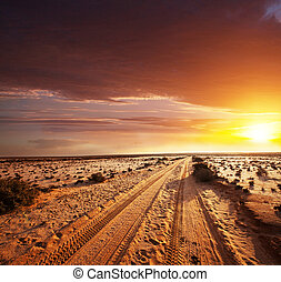 Road in desert - road in Sahara desert