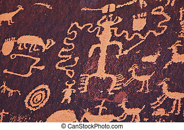 Petroglyphs on newspaper rock in Canyonlands national park,...