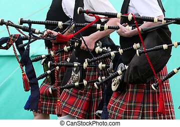 Scottish Pipe Band - Scottish pipe band with bagpipes