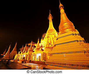 Shwedagon golden pagoda at night, Yangon,Myanmar