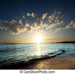 Sea scene on sunset
