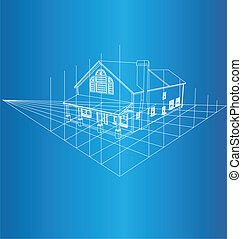 House 3D background - Drawing of the home on a blue...