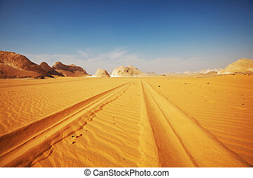 Road in desert - road in White desert,Egypt