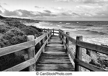 Ocean view from beachside walkway in Black and White,...