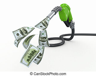 Gas pump nozzle and dollar on white background 3d