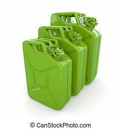 Three green canisters Gasoline can on white background 3d