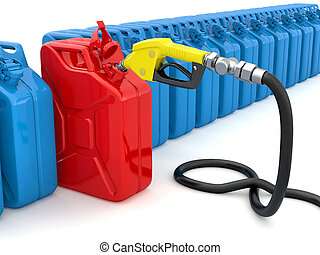 Gas pump nozzle and fuel can on white background