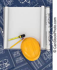 Construction concept. Hardhat, blueprint and rulers. 3d