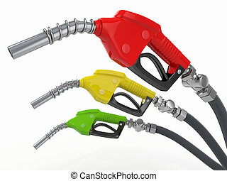 Gas pump nozzles o0n white isolated background. 3d