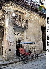 Bicitaxi, estacionado, viejo, pueblo, La Habana