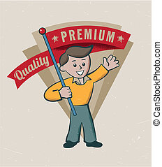 Vintage retro premium quality label design - editable vector...