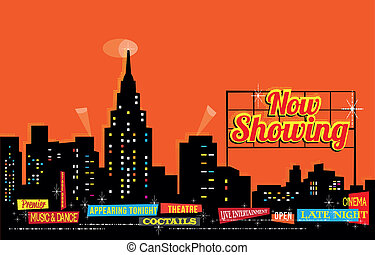 Vintage Retro City Nightlife - editable vector background