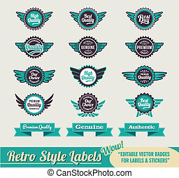 Vintage retro labels - Retro Vintage Premium quality labels...
