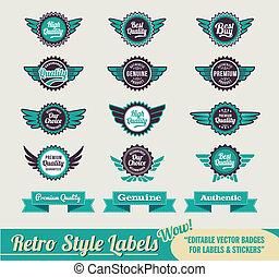 Vintage retro labels - Retro Vintage Premium quality labels...