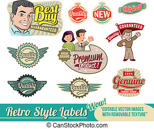 Vintage retro labels - Vintage Retro Labels - editable...