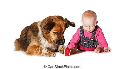 Warum wirft sie den Ball nicht?? - 9 months old Baby and dog...