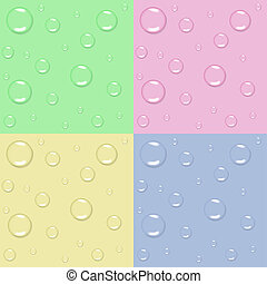 Water drops - Set of 4 pastel seamless backgrounds with...
