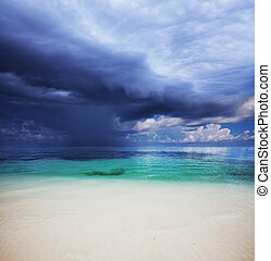 Sea in storm - Storm weather on Maldives