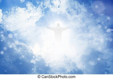 Christ in sky - Jesus Christ in blue sky with white clouds -...
