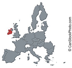 Map of the European Union, Ireland highlighted - Political...