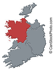 Map of Ireland, Connacht highlighted - Political map of...