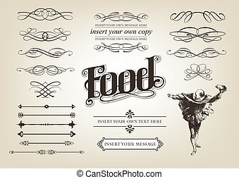 Calligraphy Food Set vector illustration