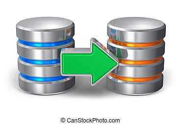 Database backup concept: two metal hard disk icons with...