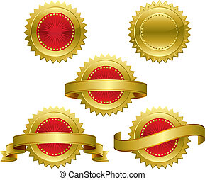 Award medals - Medallions, scrolls, ribbons - vector...