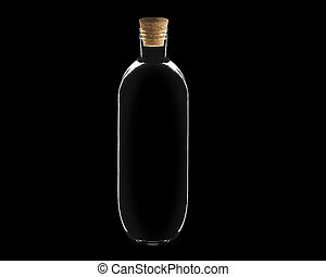 Glass bottle - empty Glass bottle with cork on black...