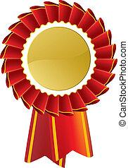 Red Rosette - Award rosette medal