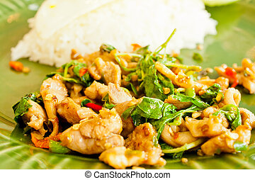 Thai Basil Fried Rice with chicken