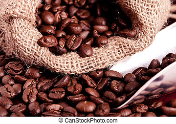 coffee beans spilling out of steel scoop