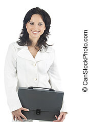 portrait of a smiling businesswoman with a briefcase -...