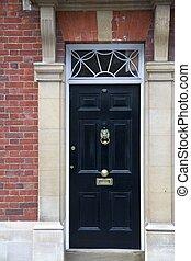 Black Door - Grand Black Wooden Door Part of a Home in...