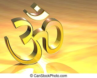 3D Hinduism Gold Sign