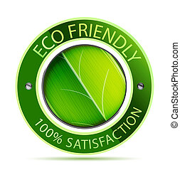 Eco friendly label - Green eco friendly icon with leaf
