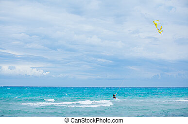 Kite surfer in the beaches of Mallorca, Spain