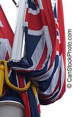 Furled Union Jack the Mall London - Furled Union Jack on the...