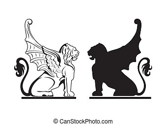 Black and white griffin illustration - Vector black and...