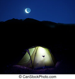 Tent in night - night scene