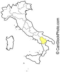 Map of Italy, Basilicata highlighted