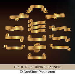 Gold Vector Ribbons and banners - Collection of Gold Vector...
