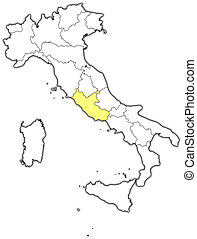 Map of Italy, Lazio highlighted