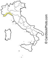 Map of Italy, Liguria highlighted