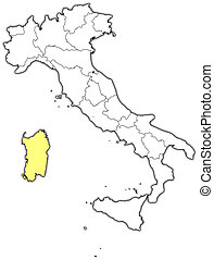 Map of Italy, Sardinia highlighted - Political map of Italy...
