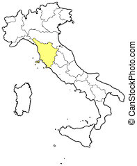 Map of Italy, Tuscany highlighted - Political map of Italy...