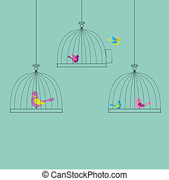 Color Birds - 6 Birds in Cage, Isolated On Vintage...